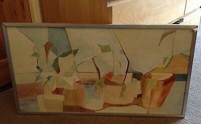 Vintage Abstract Oil Painting on Canvas by Pippa Hodgkiss Pot Plants 30 inch