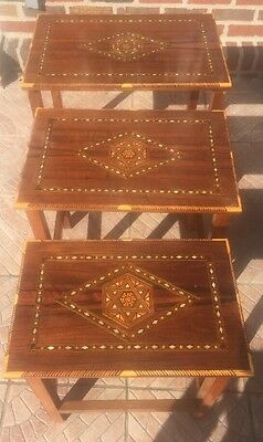A Set Of Three SYRIAN Moorish Wood Coffee  Tables Inlaid With mother of pearl