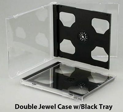25 New Standard 10.4mm Double Black Tray CD DVD Jewel Cases, hold 2 Discs, CDDB