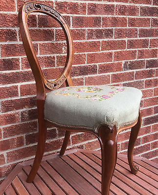 Beautiful Victorian Carved Walnut Balloon Back Chair With Embroidered Seat