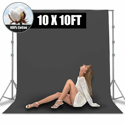 10 x 10ft Gray Muslin Backdrop 100% Cotton Photography Background Photo Studio