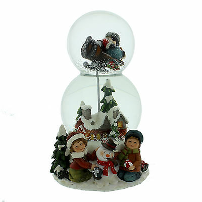Double Glass Globe Christmas Scenes Musical Snow Globe