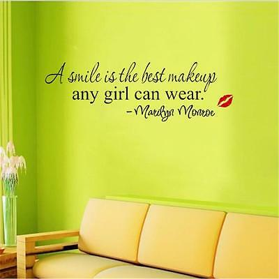"""DIY PVC Wall Sticker """"A Smile Is The Best Makeup Marilyn Monroe"""" Decal Decor -6A"""