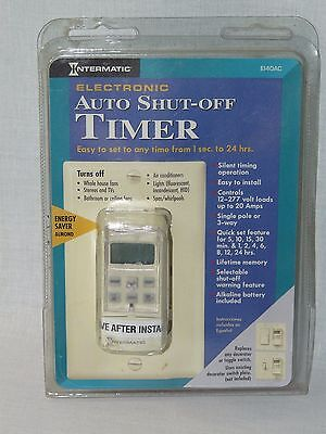 NOS - Intermatic Electronic Auto Shut Off Timer Model EI40AC in Almond