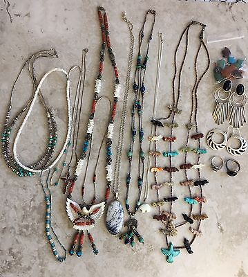 Vintage Navajo Sterling Fetish Turquoise Beaded Necklace Lot And Earrings