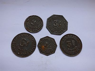 Royal Arsenal Limited Co-op Co-Operative Society Tin Tokens x5 (myrefnBE)