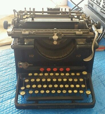 Antique early 1920s REMINGTON STANDARD NO 12 Typewriter serial# LD44249 red key