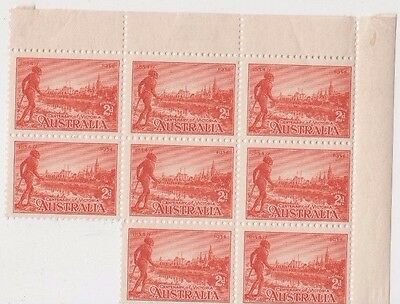Stamps Australia 2d red Aboriginal issue top right corner block of 8, nice