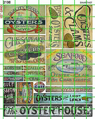 2108 Dave's Decals Oyster House Gulf Shrimp Seafood Cafe Signs Advertising Set