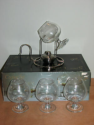 5 Piece Deluxe Set Cognac Brandy Glasses and Alcohol Burner Warmer England Made