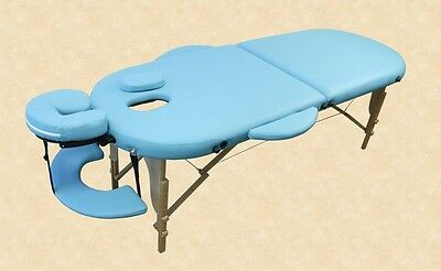 Oval Massage Table Kingpower 2 Zones incl. Bag and Accessories light blue