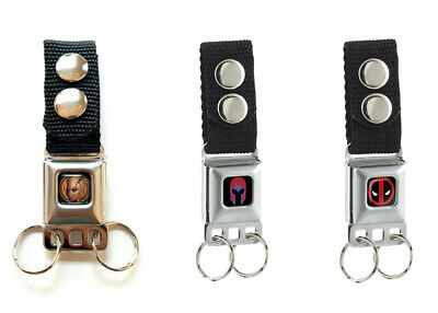MARVEL Heroes Buckle Down Seatbelt Button Snap Multi Keychain CHOOSE from Menu