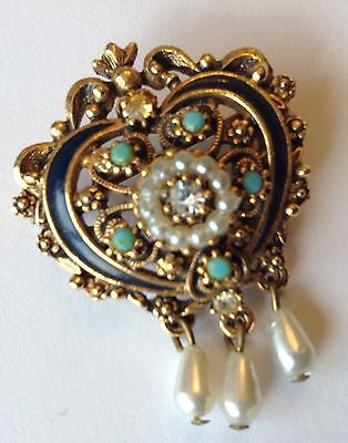 Vintage Florenza Signed Faux Pearl Rhinestone And Enamel Brooch