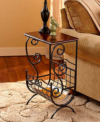 Metal and Wooden Multi-functional End Table Magazine Storage Modern Home Decor