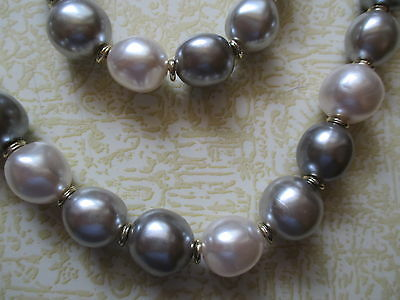 Vintage gray and white pearl finish bead necklace
