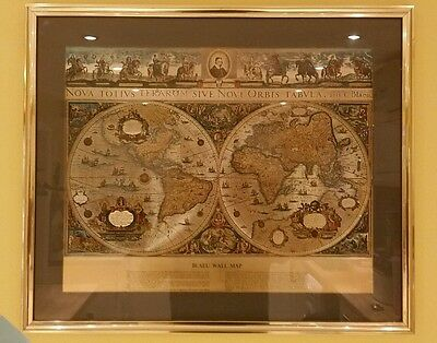 'Blaeu Wall Map' gold coloured frame