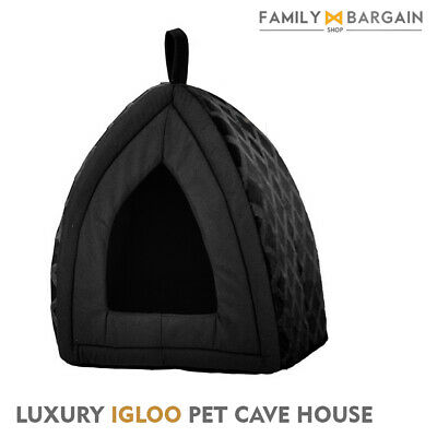 Large Pet Dog Cat Warm Fleece Winter Bed Igloo House Soft Luxury Basket BLACK ND