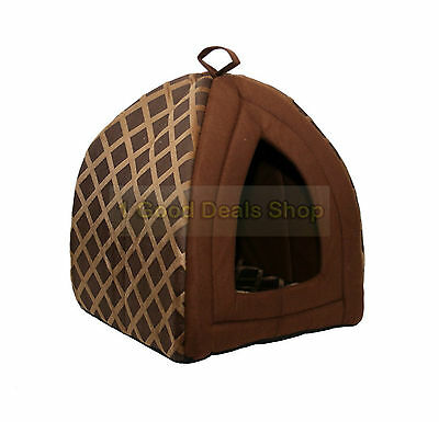 Pet Dog Cat Warm Fleece Winter Bed Igloo House Soft Luxury Basket Pets BROWN ND