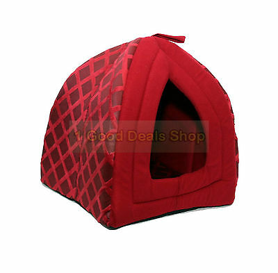 Pet Dog Cat Warm Fleece Winter Bed Igloo House Soft Luxury Basket Pets RED ND