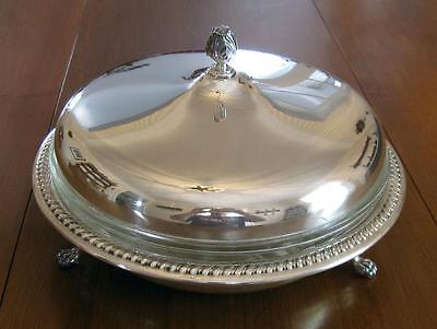 Vintage Sheffield Silverplate Serving Bowl w/Pyrex Glass Insert