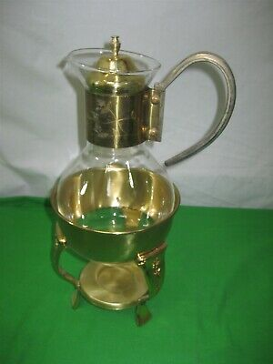 Vintage Princess House Glass Tea Coffee Warmer Carafe Pitcher with Brass Base
