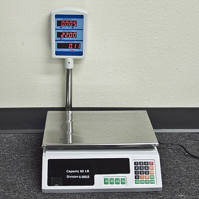 New 60 - 66 LB Digital Food Meat Produce Price Weight Computing Digital Scale