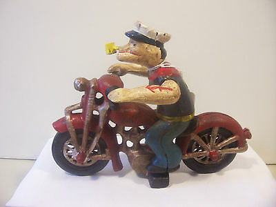 Cast Iron Harley Davidson Motorcycle with Popeye Rider