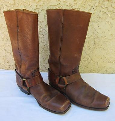 Frye Black Label 2225 Harness Brown Leather Boots Vintage Motorcycle Mens 10.5 D