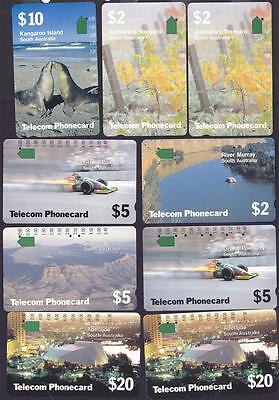 *PHONECARDS.USED.SOUTH AUSTRALIA.SET of NINE.Includes the reprints.*