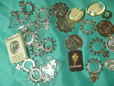 13 FINGER ROSARY RELIC POCKET GUARDIAN ANGELS MEDALS LUCITE PRAY FOR US lot