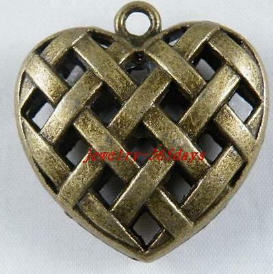 5pcs Bronze Color Knitting Heart Charms 36x35mm C58