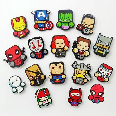 17pcs Cartoon The Avenger Hero Shoe Charms Fit Croc/Jibbitz Bracelets Boys Gifts