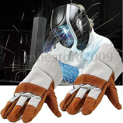 Pro Safe Welding Work Soft Cowhide Leather Plus Gloves For Protecting Hand New