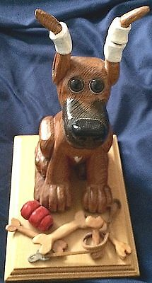 """Hand Carved Great Dane Puppy w/Ears In Training Fawn 10""""T Base 8""""x6"""" New FASTSHP"""