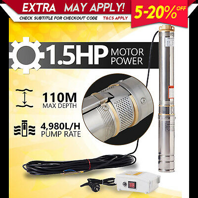 New 1.5HP Submersible Bore Water Pump Deep Well Irrigation Stainless Steel 240V