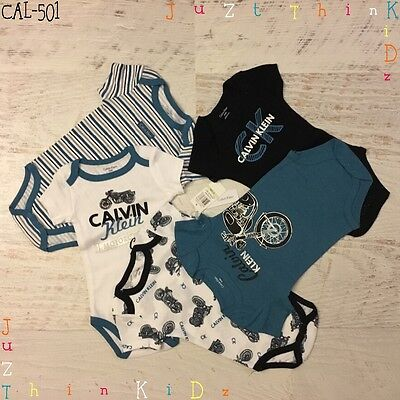 Calvin Klein New Infant 0-3M ~ 6-9M Baby Girl Boy 5 Pieces Bodysuit Romper Set