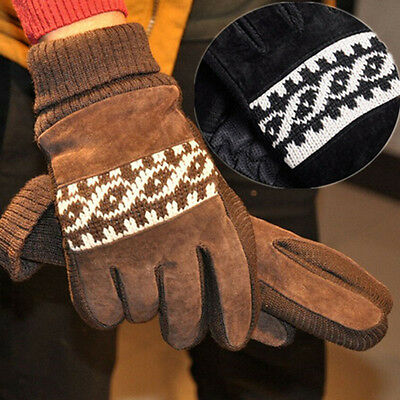 Men's Winter Warm Snowflake Pigskin Gloves Outdoor Leather Full Finger Mittens