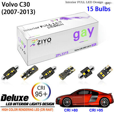 15 Bulbs Xenon White LED Interior Light Kit Package For Volvo C30 2007-2013