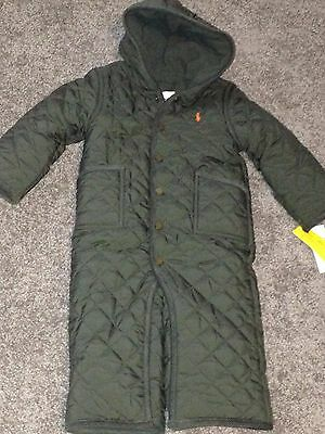 Ralph Lauren infant boys rugby olive quilted snap Pony bunting snowsuit 12M $115