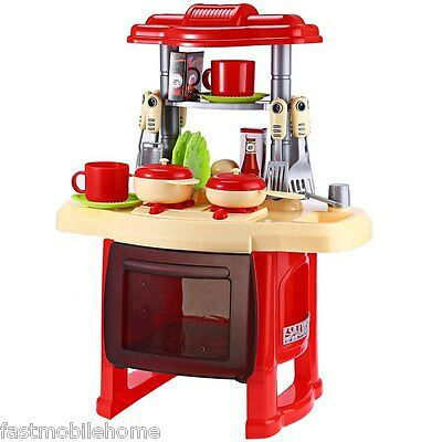 Children Kids Kitchen Cooking Pretend Role Play Toy Cooker Set Light Sound Gifts
