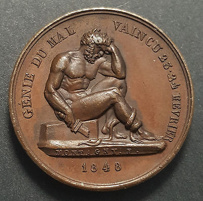 France 1848 Hercules French Revolution Bronze Medal gEF Beauty by Montagny  RARE