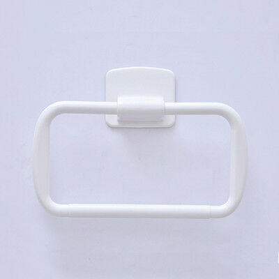 Wall Mounted White Plastic Self Adhesive Sticky Rack Bathroom Towel Ring Holder
