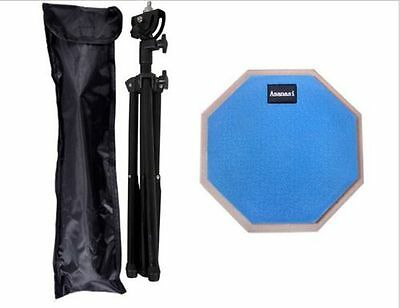 8'' Dumb Drum Practice Pads Stand Adjustable Drum Sticks Set Musical blue