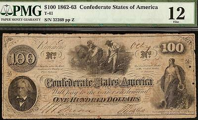 1862 1863 $100 Confederate States Currency Civil War Hoer Note Money T-41 Pmg