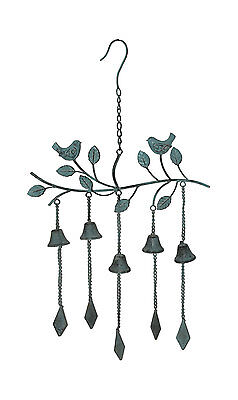 Green Birds And Bells Hanging Bells Wind Chime Mobile Garden Decor 75cm