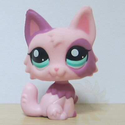 Littlest Pet Shop Collection LPS Figure # 2100 Green Eye Pink Wolf Puggy Cat Toy