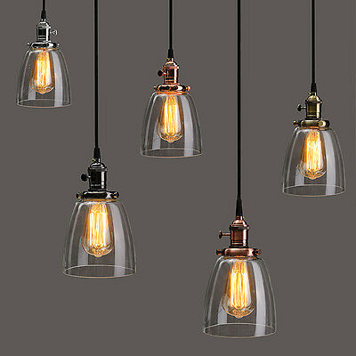 Retro Industrial Loft Cafe Glass Ceiling Pendant Hanging Light Lamp Shade