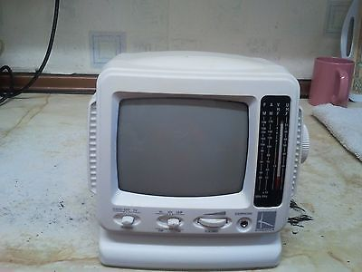 Vintage analogue black & white portable tv / radio