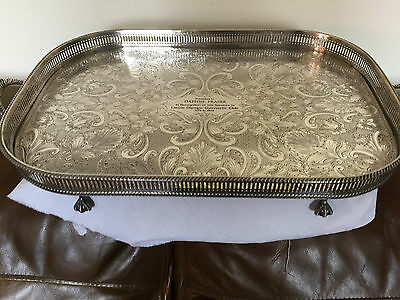 Lovely Large 2 Handled Silver Plated Galley Tray On 4 Ball & Claw Feet(Engraved)