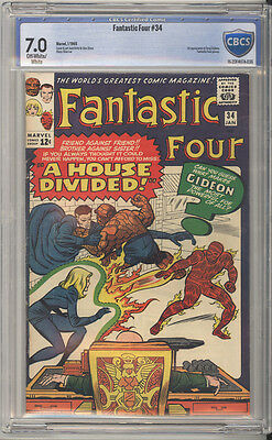 Fantastic Four # 34  A House Divided !  CBCS 7.0 scarce book !